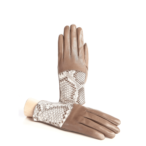Women's silk lined sheepskin leather gloves with python top detail