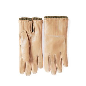 Women's classic sheepskin gloves in color alpaca with green wool lining