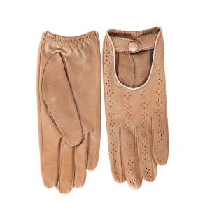 Women's unlined driving gloves in alpaca color smooth genuine leather with strap and button details