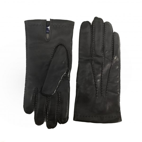 Men's fully hand-stitched genuine leather gloves in color black cashmere lined