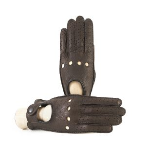 Women's driving gloves in fine perforated pecary leather and without lining