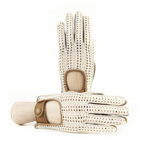 Women's driving leather gloves with hand-made crochet top