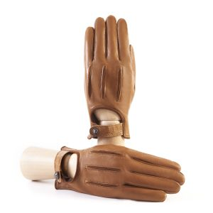 Men's soft nappa camel leather gloves with suede details with strap and silk lining