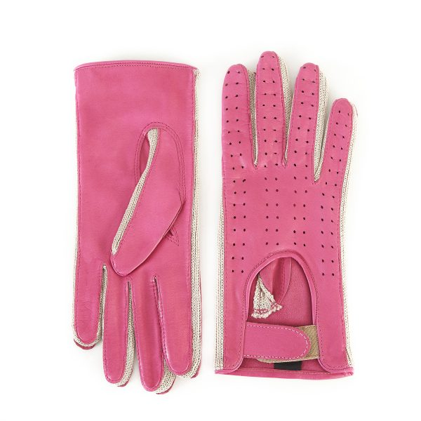 Ladies' driving gloves in real pink leather with crochet finger inserts