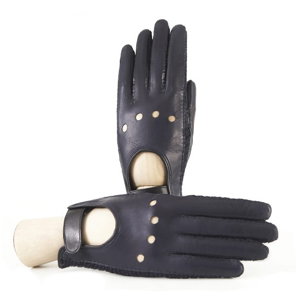 Women's driving gloves in blue navy nappa leather with holes on the knuckles and crochet finger inserts