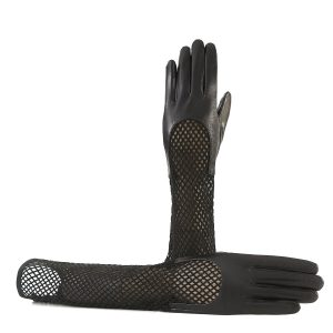 Women's genuine leather gloves in black nappa and suede elbow lenght sleeve with particular design