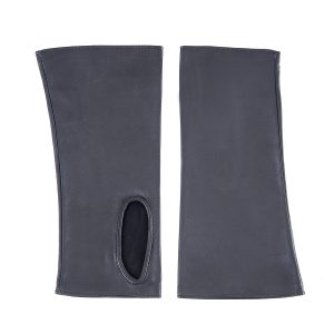 Women's fingerless blue navy nappa leather gloves unlined