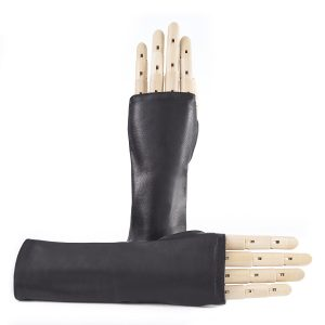 Women's fingerless black nappa leather gloves unlined