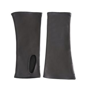Women's fingerless black nappa leather gloves double face