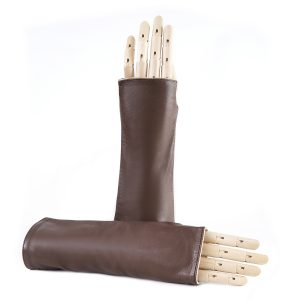 Women's fingerless brown nappa leather gloves double face