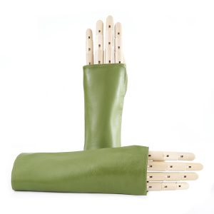 Women's fingerless green nappa leather gloves unlined