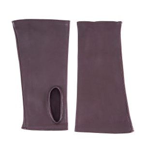 Women's fingerless bordeaux nappa leather gloves unlined