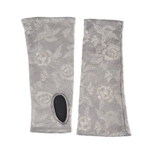 Women's fingerless printed metallic silver grey leather gloves with silk lining