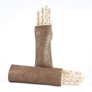 Women's fingerless printed metallic bronze leather gloves with silk lining