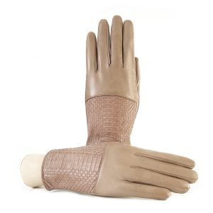 Ladies' alpaca nappa leather gloves with water reptile top silk lined