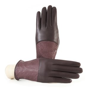 Ladies' bordeaux nappa leather gloves with water reptile top silk lined