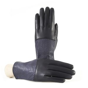 Ladies' blue navy nappa leather gloves with water reptile top silk lined