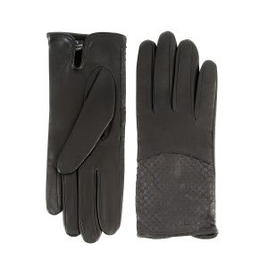 Ladies' black nappa leather gloves with water reptile top silk lined