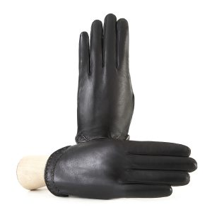 Women's black nappa leather gloves with metallic leather edge silk lined