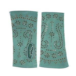 Women's fingerless emerald green nappa leather gloves unlined