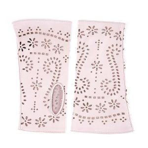 Women's fingerless rose nappa leather gloves unlined