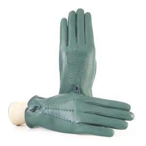 Women's silk lined gloves in soft green real leather