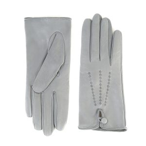 Women's silk lined gloves in soft grey real leather