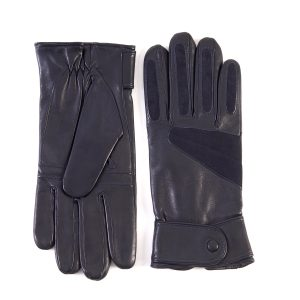 Men's sport gloves in blue leather with suede insert and large strap details and cashmere lining