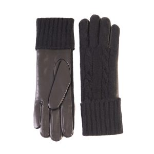 Men's leather gloves with woven cashmere top and lining in color black