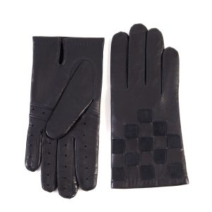 Men's dark navy leather gloves with suede panel inserts on top mix cashmere lined