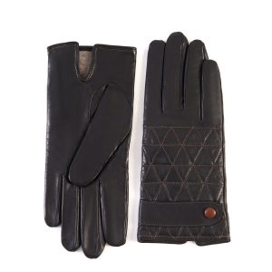 Men's dark brown quilted top sheepskin gloves with strap and contrast stitching details with cashmere lining