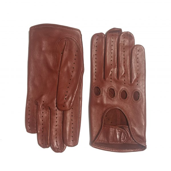Men's cognac leather driving gloves with strap closure