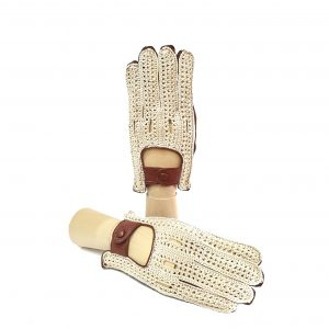 Men's cognac leather driving gloves with crochet top