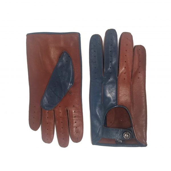 Men's bicolor driving gloves in soft nappa leather
