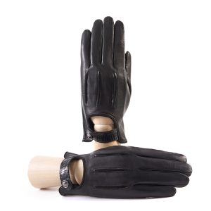 Men's soft black nappa leather gloves with suede details with strap and silk lining