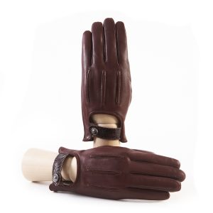 Men's soft brown nappa leather gloves with suede details with strap and silk lining