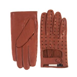 Men's cognac nappa leather driving gloves with laser-cut details