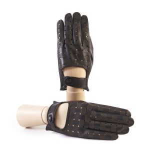Men's black nappa leather driving gloves with laser-cut details
