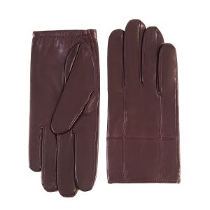 Men's bordeaux nappa leather gloves with elastic detail and silk lining