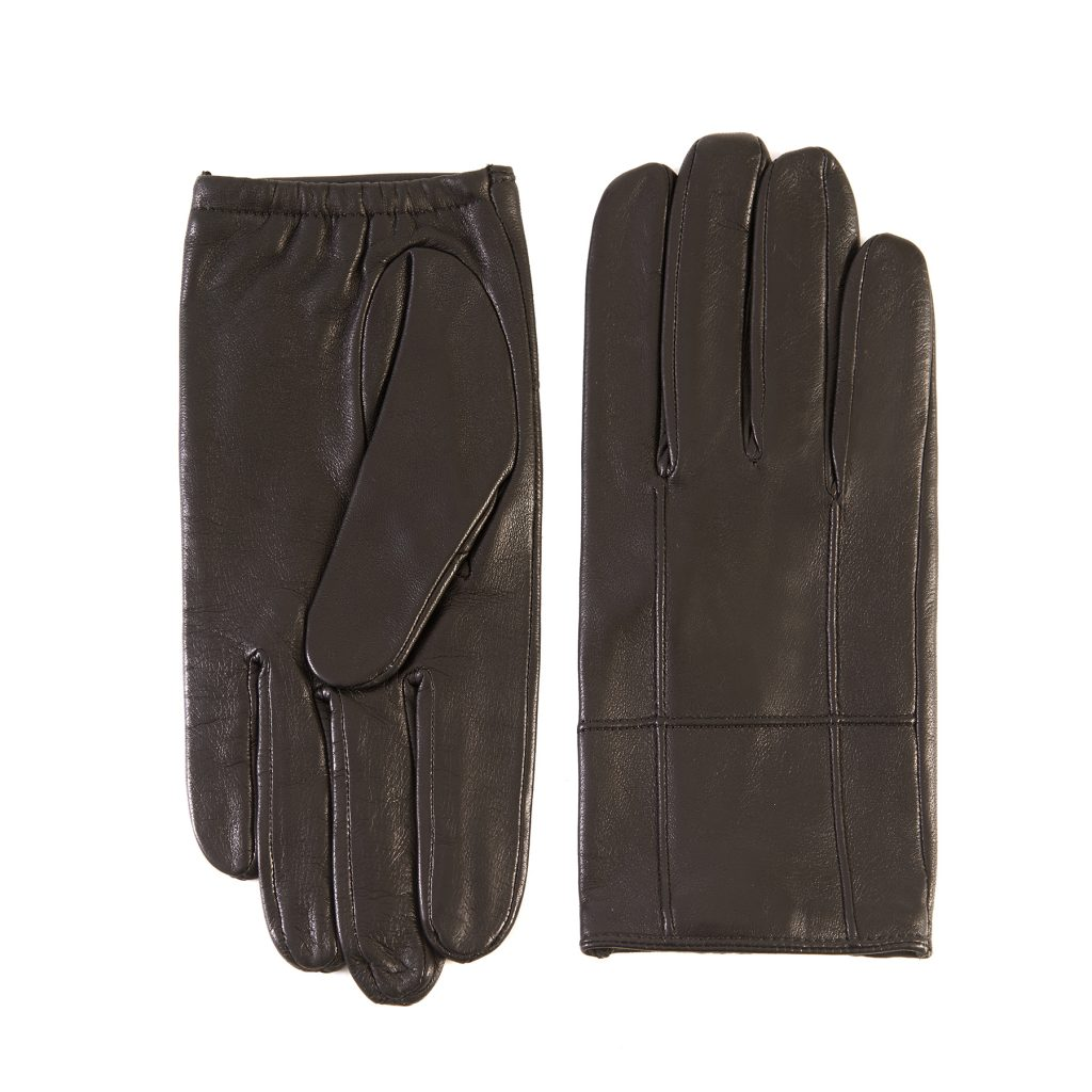 Men's black nappa leather gloves with elastic detail and silk lining