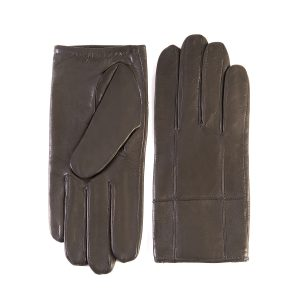 Men's mud nappa leather gloves with elastic detail and silk lining