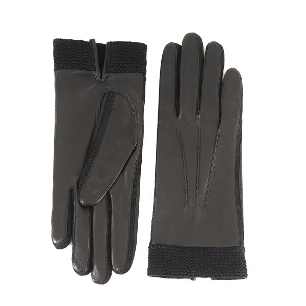 Women's nappa leather gloves in color black unlined and with crochet inserts