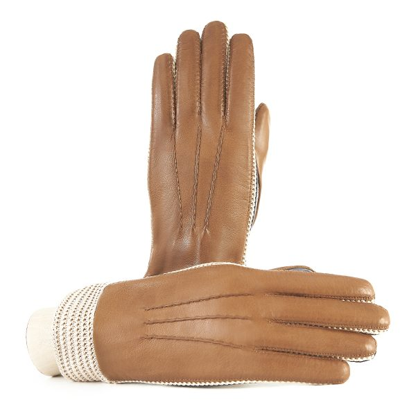 Women's nappa leather gloves in color camel and grey unlined and with crochet inserts