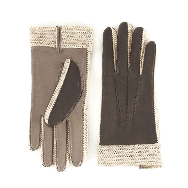 Women's nappa leather gloves in color brown and taupe unlined and with crochet inserts