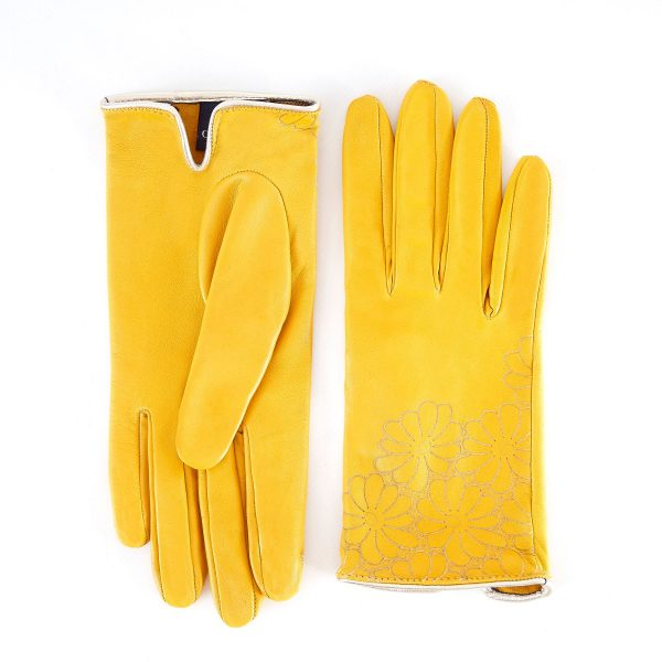 Women's unlined yellow nappa leather gloves with floral detail