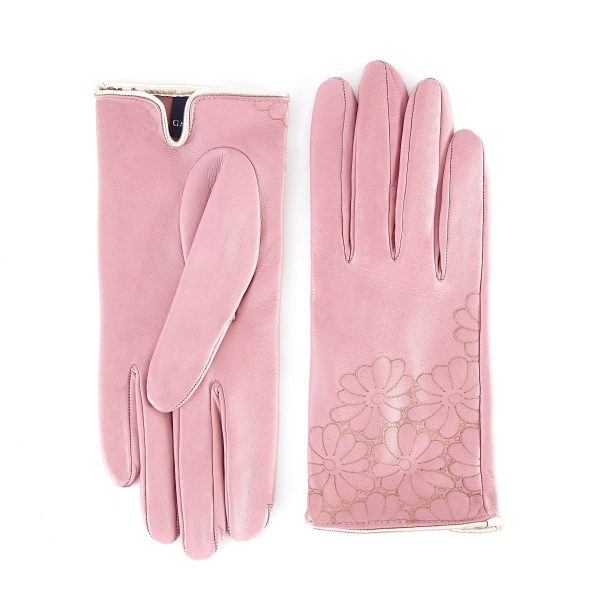 Women's unlined pink nappa leather gloves with floral detail
