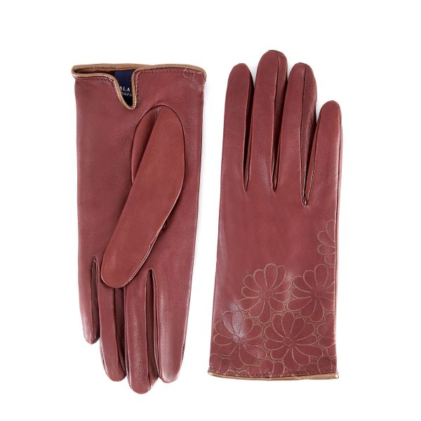 Women's unlined light brown nappa leather gloves with floral detail