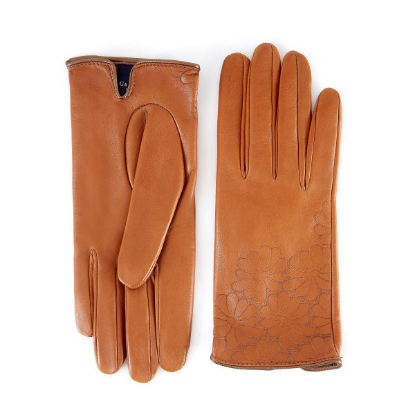 Women's unlined camel nappa leather gloves with floral detail