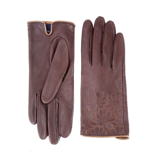 Women's unlined brown nappa leather gloves with floral detail