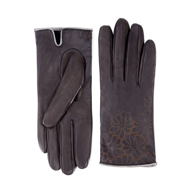 Women's unlined black nappa leather gloves with floral detail